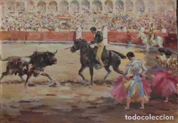 LA TRILLA. ÓLEO SOBRE LIENZO TAURINO DE ANTONIO CASERO 1948. 90 X 66. (Arte - Pintura - Pintura al Óleo Contemporánea )