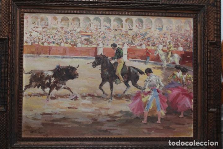 Arte: LA TRILLA. ÓLEO SOBRE LIENZO TAURINO DE ANTONIO CASERO 1948. 90 X 66. - Foto 2 - 52760014