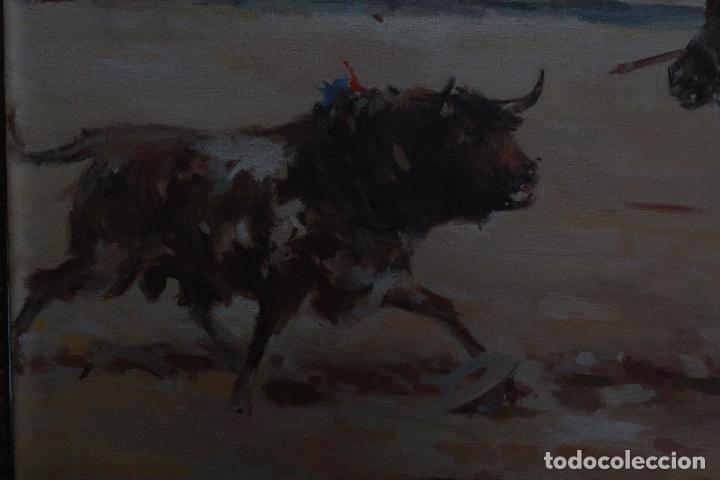 Arte: LA TRILLA. ÓLEO SOBRE LIENZO TAURINO DE ANTONIO CASERO 1948. 90 X 66. - Foto 3 - 52760014