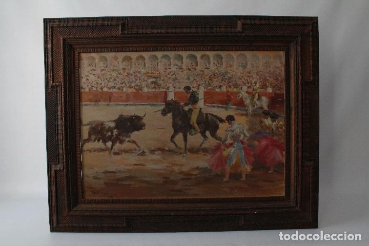 Arte: LA TRILLA. ÓLEO SOBRE LIENZO TAURINO DE ANTONIO CASERO 1948. 90 X 66. - Foto 4 - 52760014