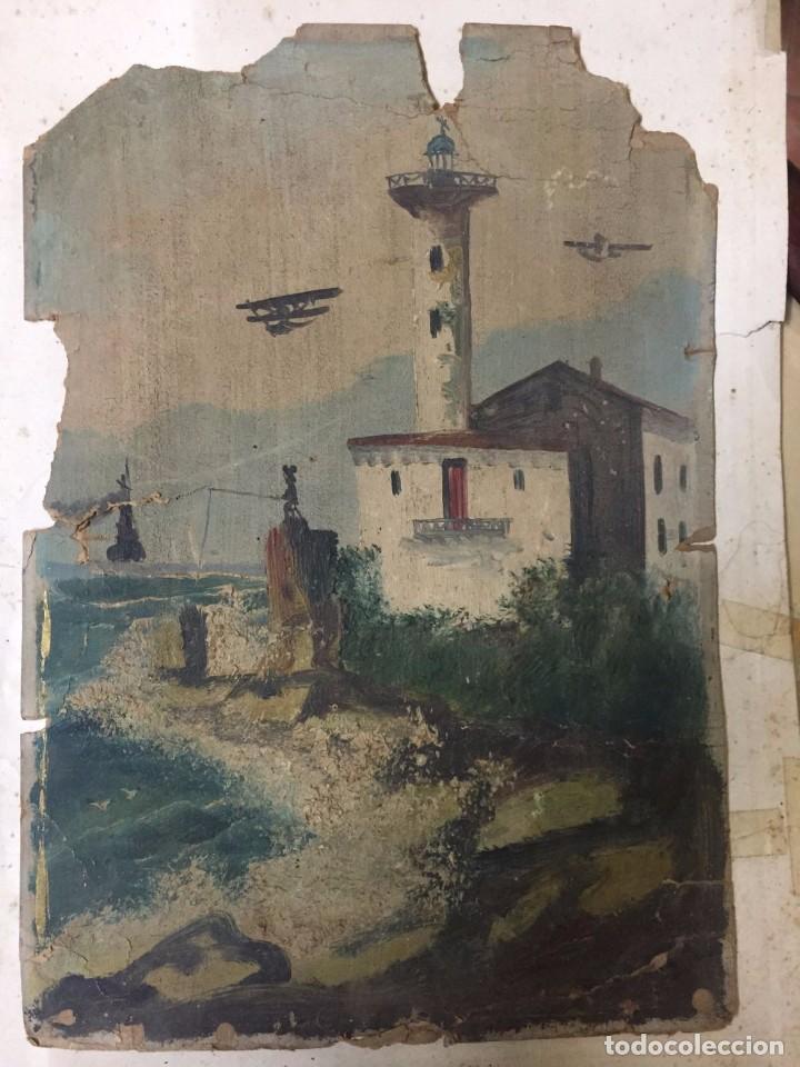 MICKEY MOUSE PESCANDO JUNTO A UN FARO Y AVIONES. ANTERIOR A 1940. (Arte - Pintura - Pintura al Óleo Contemporánea )