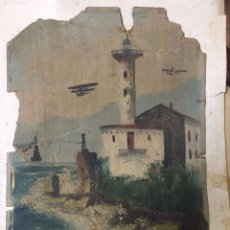 Arte: MICKEY MOUSE PESCANDO JUNTO A UN FARO Y AVIONES. ANTERIOR A 1940.. Lote 79497369