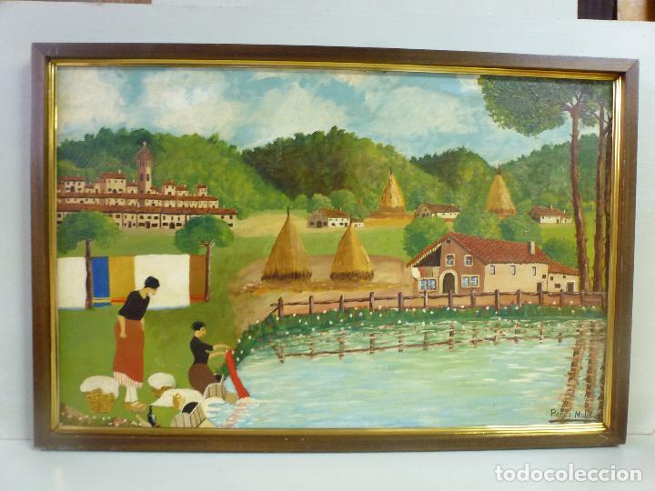 ANTIGUO CUADRO, PINTURA AL OLEO, LAVANDERAS. FIRMADO POR PÉREZ MOLINA (Arte - Pintura - Pintura al Óleo Antigua sin fecha definida)