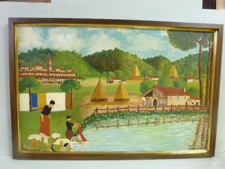 Arte: Antiguo cuadro, pintura al oleo, lavanderas. Firmado por Pérez Molina - Foto 2 - 79634277