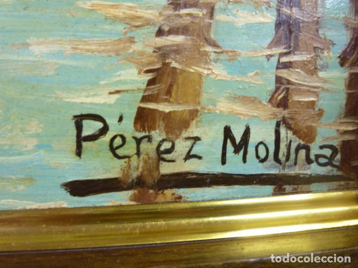 Arte: Antiguo cuadro, pintura al oleo, lavanderas. Firmado por Pérez Molina - Foto 4 - 79634277