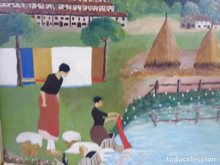Arte: Antiguo cuadro, pintura al oleo, lavanderas. Firmado por Pérez Molina - Foto 6 - 79634277