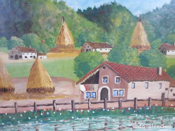Arte: Antiguo cuadro, pintura al oleo, lavanderas. Firmado por Pérez Molina - Foto 7 - 79634277