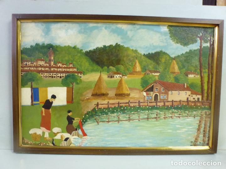 Arte: Antiguo cuadro, pintura al oleo, lavanderas. Firmado por Pérez Molina - Foto 8 - 79634277
