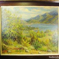 Arte: PANTÀ DE BOADELLA. JULI BATALLÉ I MURLÁ. ÓLEO SOBRE LIENZO. 62 X 75 CM. FIRMADO, FECHADO Y TITULADO.. Lote 79709045