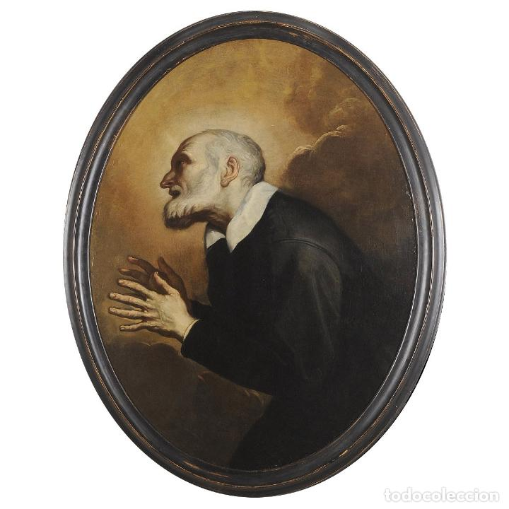 IMPRESIONANTE ÓLEO BARROCO ITALIANO DEL SIGLO XVII REPRESENTANDO A SAN FELIPE NERI (Arte - Pintura - Pintura al Óleo Antigua siglo XVII)
