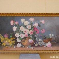 Arte: ESPECTACULAR BODEGON DE FLORES FIRMADO ARROYO-CUADRO- PINTURA AL OLEO GRAN FORMATO . Lote 117510770