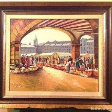 Arte - Óleo Sobre Tela Del Pintor Pablo López Mir Mercado De Vic Medidas 98X86CM - 80293741