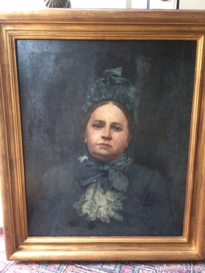 PINTURA ANTIGUA SXIX RETRATO OLEO SOBRE LIENZO (Arte - Pintura - Pintura al Óleo Moderna siglo XIX)