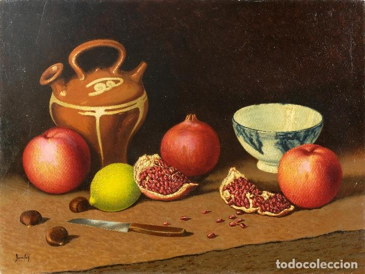 JUAN LUÍS DOMÍNGUEZ ÓLEO SOBRE LIENZO BODEGÓN FRUTAS Y CERÁMICA MEDIADOS SIGLO XX FIRMADO (Arte - Pintura - Pintura al Óleo Contemporánea )