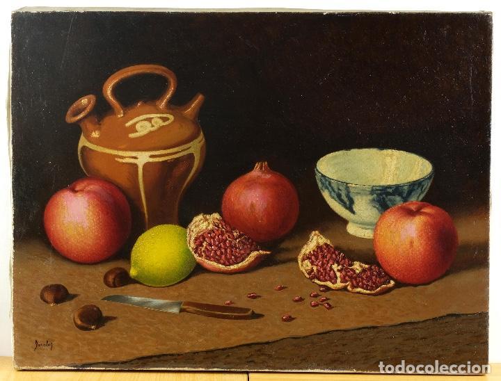 Arte: Juan Luís Domínguez óleo sobre lienzo Bodegón frutas y cerámica mediados siglo XX firmado - Foto 2 - 80306661
