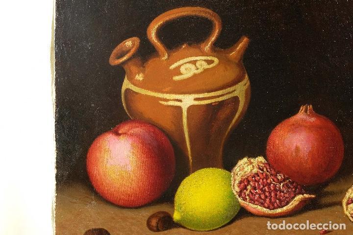 Arte: Juan Luís Domínguez óleo sobre lienzo Bodegón frutas y cerámica mediados siglo XX firmado - Foto 3 - 80306661