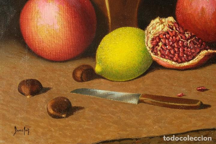 Arte: Juan Luís Domínguez óleo sobre lienzo Bodegón frutas y cerámica mediados siglo XX firmado - Foto 5 - 80306661