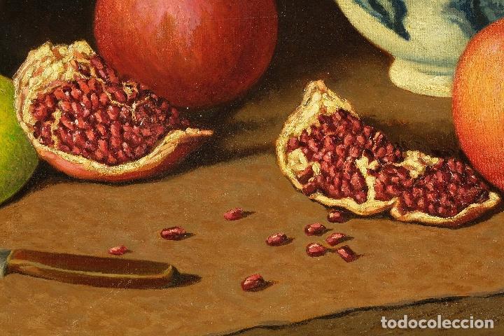 Arte: Juan Luís Domínguez óleo sobre lienzo Bodegón frutas y cerámica mediados siglo XX firmado - Foto 6 - 80306661