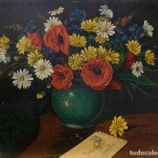 Arte: JUAN LUÍS DOMÍNGUEZ ÓLEO SOBRE TABLA BODEGÓN FLORES FIRMADO Y FECHADO 1940. Lote 80307341