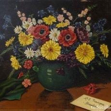 Arte: JUAN LUÍS DOMÍNGUEZ ÓLEO SOBRE TABLA BODEGÓN FLORES FIRMADO Y FECHADO SEVILLA 1940. Lote 80307621