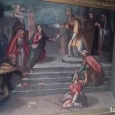 Arte: PRESENTACIÓN DE LA VIRGEN NIÑA EN EL TEMPLO SIG, XVI-XVII OLEO SOBRE LIENZO GRUESO MARCO DORADO. Lote 80348989