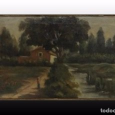 Arte: PAISAJE CON CASA, ORENSE, OLEO SOBRE LIENZO, 1914. Lote 80356929