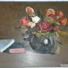 Arte: OLEO SOBRE TABLA FIRMADO BODEGON CON FLORES. Lote 80435505