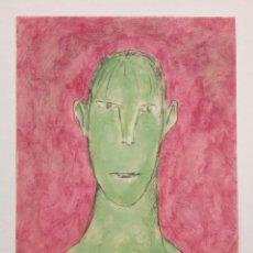 Art: BONITO RETRATO ORIGINAL, OLEO SOBRE PAPEL, EXPRESIONISMO, FIRMA ILEGIBLE. Lote 80703898