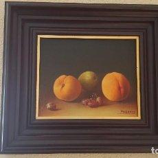 Arte: BODEGÓN CON MELOCOTONES. PALOMO. ÓLEO SOBRE TABLA. . Lote 80726358