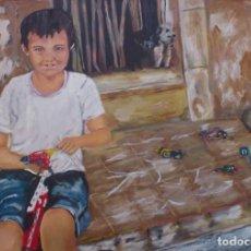 Arte: OLEO /LIENZO NIÑO JUGANDO EN LA PUERTA DE CASA. Lote 80777982