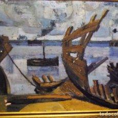 Arte: ESCENA DE PUERTO POR JUAN MANUEL SEISDEDOS ROMERO (TRIGUEROS, HUELVA 1943). Lote 80839883