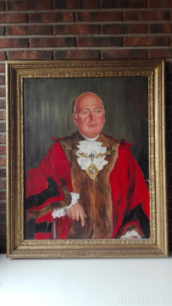 CUADRO OLEO SOBRE TELA DE GRAN DIMENSIÓN. LORD MAYOR OF LONDON - SIR DENNIS. FIRMADO (Arte - Pintura - Pintura al Óleo Antigua sin fecha definida)
