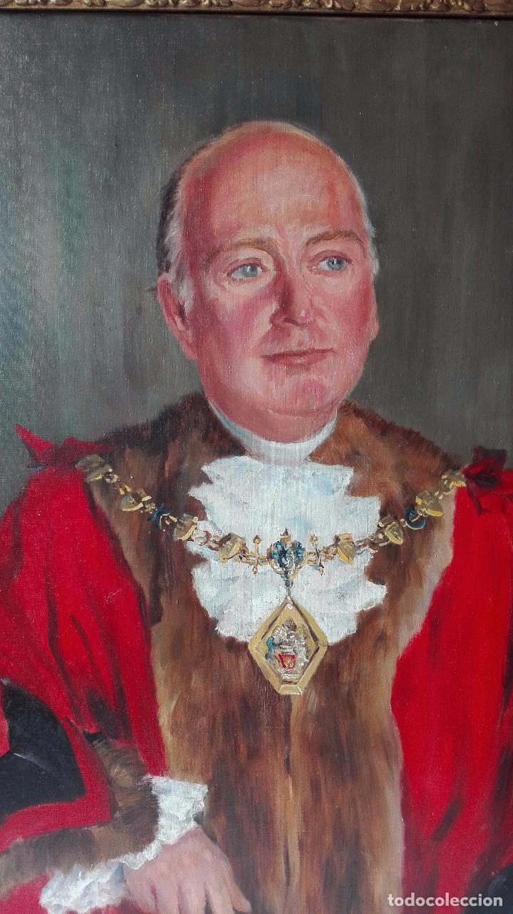 Arte: Cuadro Oleo sobre Tela de Gran dimensión. Lord Mayor of London - Sir Dennis. Firmado - Foto 2 - 80841823