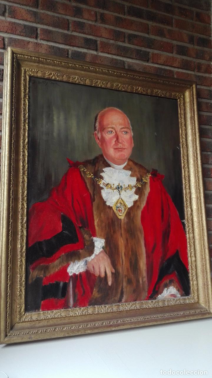 Arte: Cuadro Oleo sobre Tela de Gran dimensión. Lord Mayor of London - Sir Dennis. Firmado - Foto 5 - 80841823