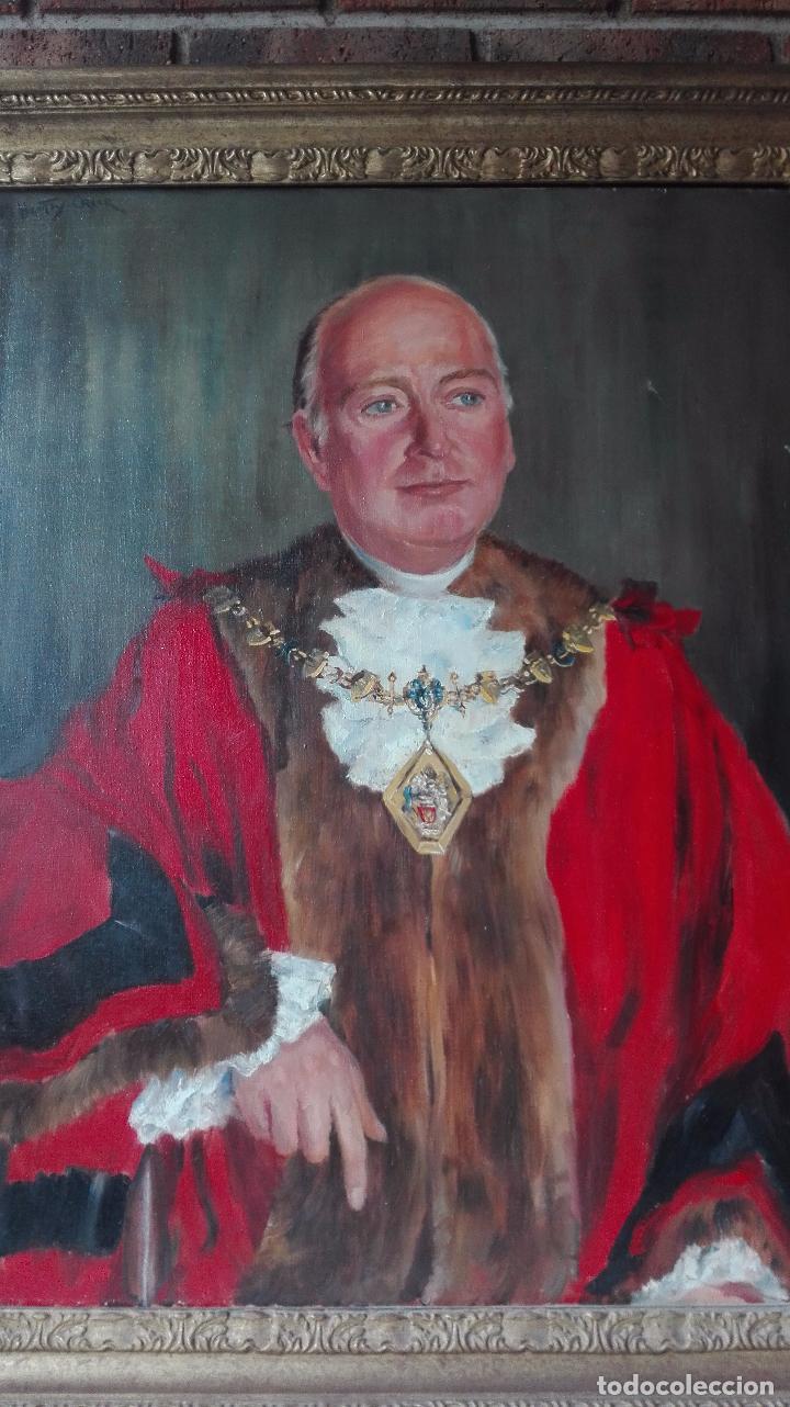 Arte: Cuadro Oleo sobre Tela de Gran dimensión. Lord Mayor of London - Sir Dennis. Firmado - Foto 6 - 80841823
