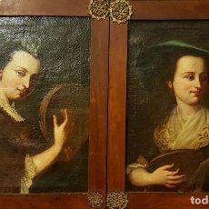 Arte: DAMAS CON INSTRUMENTOS. ÓLEO /LIENZO. ESCUELA ITALIANA. BARROCO. SIGLO XVII.. Lote 80992792