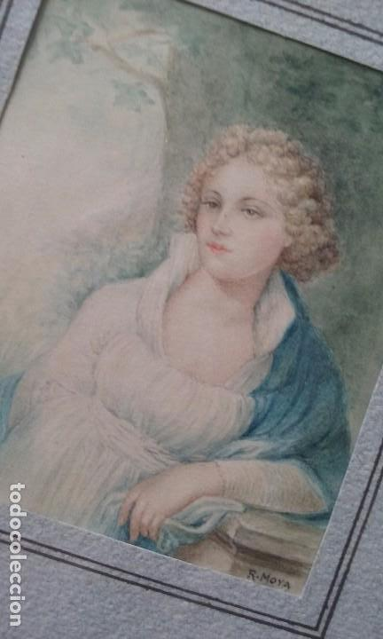 ACUARELA RETRATO DAMA MINIATURA ENMARCADA SIGLO XIX FIRMADA R. MOYA (Arte - Pintura - Pintura al Óleo Moderna siglo XIX)