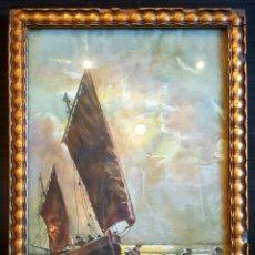 Arte: A. ESTEBAN, 1938, EXCELENTE MARINA, BARCO CON PESCADORES, FIRMADA Y FECHADA. CON MARCO DE ÉPOCA.. Lote 81107463