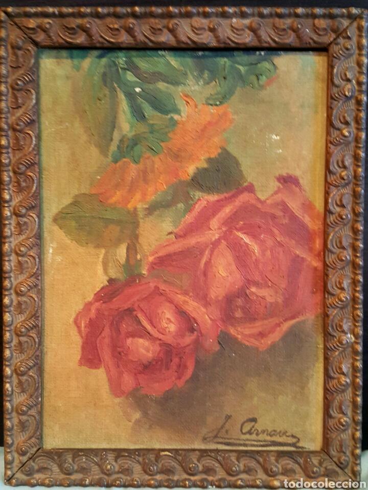 J. ARNAU, OLEO SOBRE TABLA, FLORES, CON MARCO DE ÉPOCA. FIRMADO. 19X26CM (Arte - Pintura - Pintura al Óleo Antigua sin fecha definida)