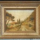 Arte: PAISAJE RURAL FIRMADO, PINTADO AL OLEO SOBRE TABLA DE NOGAL. R. MOLLA? 23X19CM. Lote 81113910