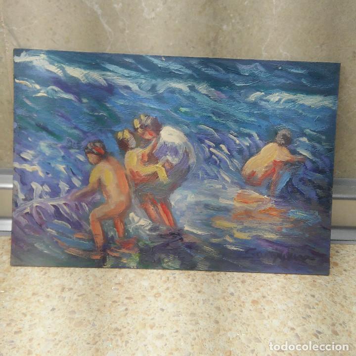 PINTURA, OLEO SOBRE CARTON DE PINTOR ILICITANO ( SAN JUAN ) ESCENA EN EL MAR. (Arte - Pintura - Pintura al Óleo Contemporánea )