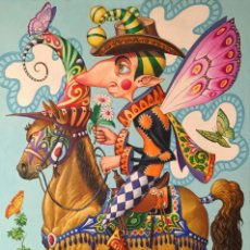 Arte: ELIER GONZALEZ - ACRILICO EN LIENZO - DUENDE A CABALLO. Lote 81239600