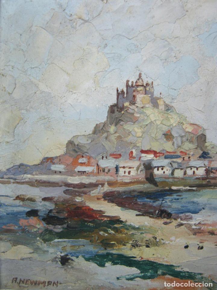 Arte: Antigua pintura inglesa al oleo paletilla - firmada - Monte St Michael Cornwall Inglaterra - Foto 3 - 81563588