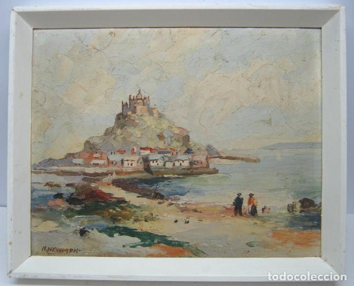 Arte: Antigua pintura inglesa al oleo paletilla - firmada - Monte St Michael Cornwall Inglaterra - Foto 7 - 81563588