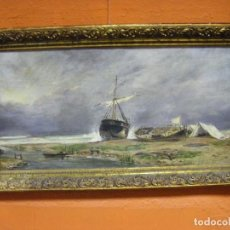 Arte: OLEO EN LIENZO DE UNA MARINA PINTURA ESPAÑOLA DE LA SEGUNDA MITAD DEL SIGLO XIX. Lote 81631456