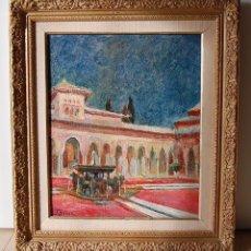 Arte: ANTIGUA PINTURA IMPRESIONISTA - ALHAMBRA DE GRANADA: PATIO DE LOS LEONES. Lote 81692580