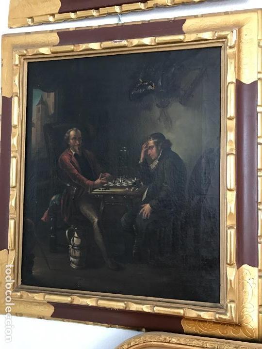 JUGADORES DE AJEDREZ, OLEO SOBRE LIENZO S. XIX (Arte - Pintura - Pintura al Óleo Moderna siglo XIX)