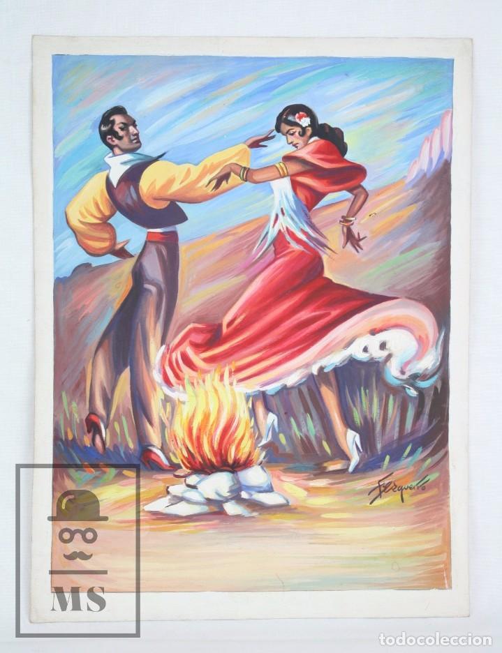 DIBUJO / ILUSTRACIÓN ORIGINAL - BAILAORES JUNTO AL FUEGO / FLAMENCO. F. EZQUERRO - AÑOS 40-50 (Arte - Pintura Directa del Autor)