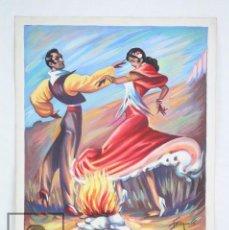 Arte: DIBUJO / ILUSTRACIÓN ORIGINAL - BAILAORES JUNTO AL FUEGO / FLAMENCO. F. EZQUERRO - AÑOS 40-50. Lote 81985088