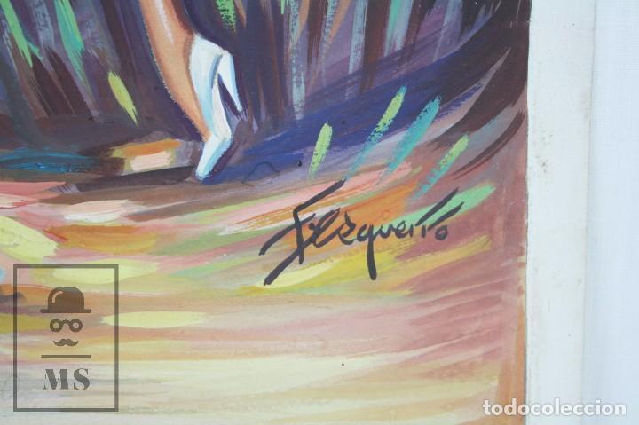 Arte: Dibujo / Ilustración Original - Bailaores Junto al Fuego / Flamenco. F. Ezquerro - Años 40-50 - Foto 2 - 81985088